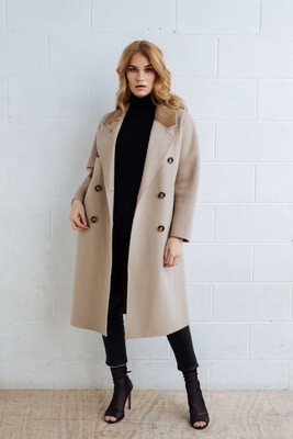 Wool Coat With Leather Trim - Oatmeal