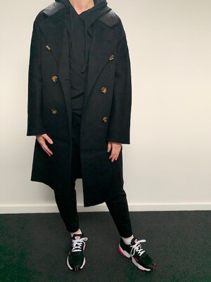 Wool Coat With Leather Trim - Black