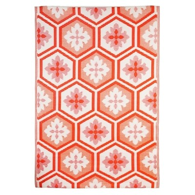 Coral Hexagon Reversible Weather Rug
