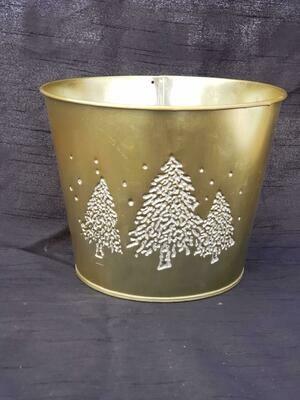 MD GLD Metal Tree Pot
