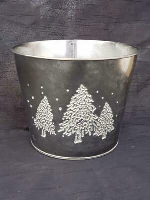 SM BLK Metal Tree Pot