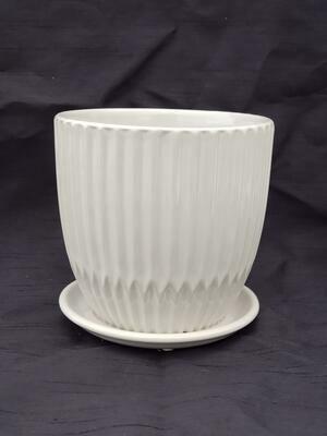 15cm GRY Ceramic Pot W/saucer