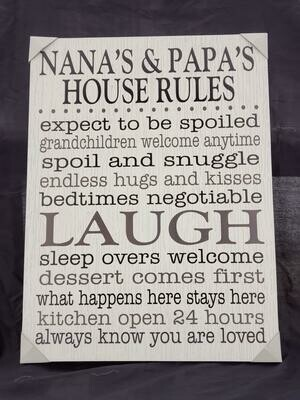 Nana's & Papa's Rules Wall Art
