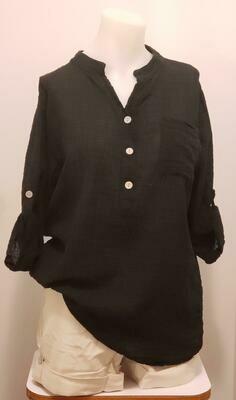 BLK 3/4 Sleeve Linen Shirt