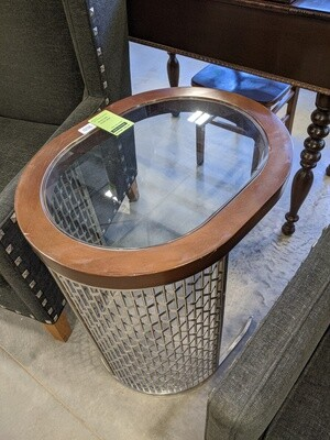 Chrome Metal & Wood Glass Top End Table #1020