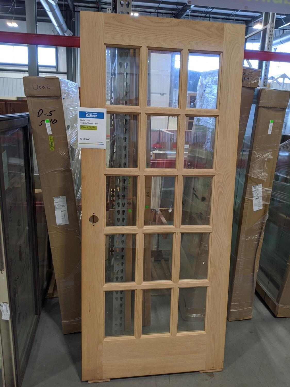 Unfinished Solid Oak 15 Lite Door #1034