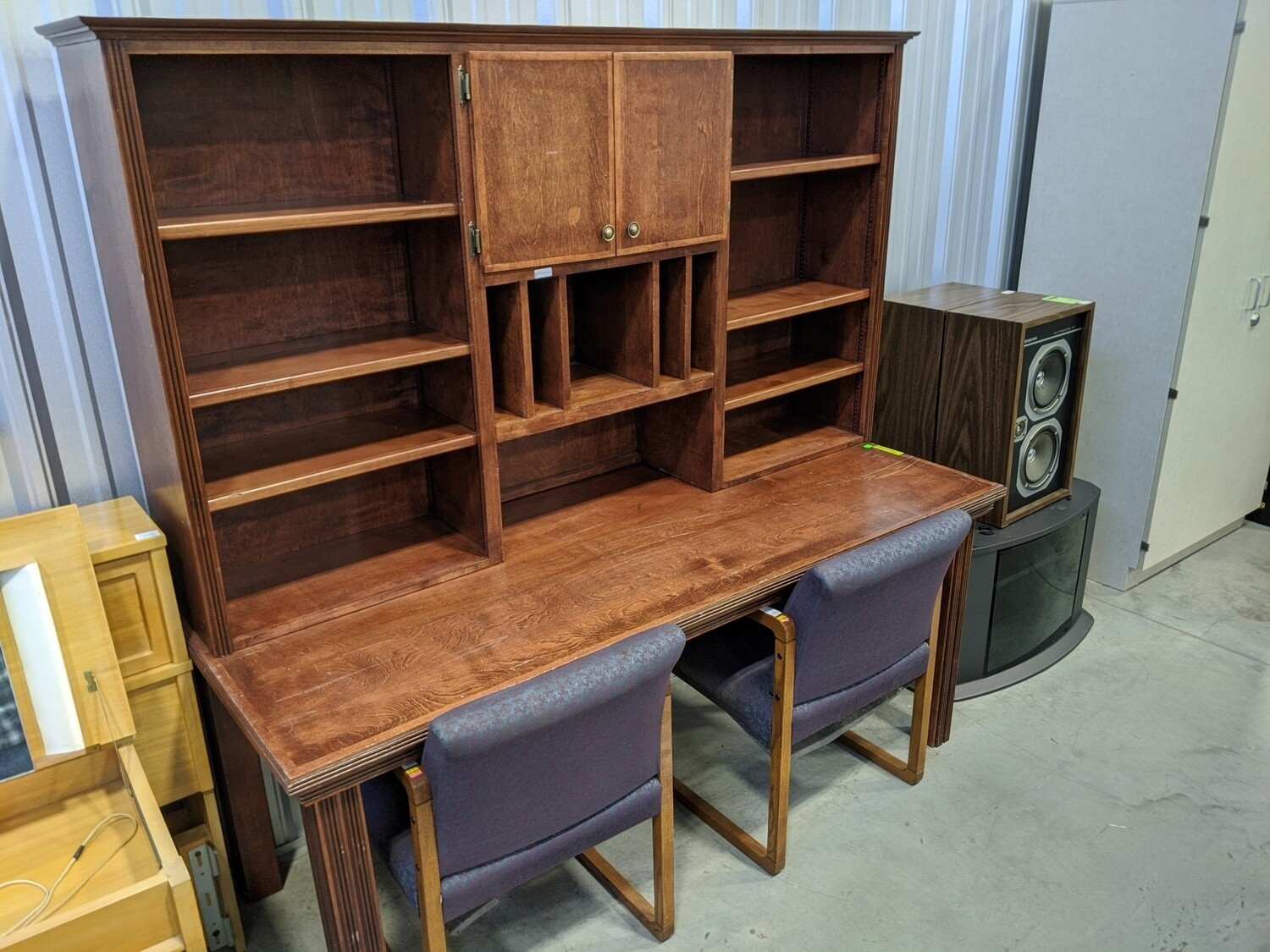 2pc Wooden Office Table with Hutch #1062