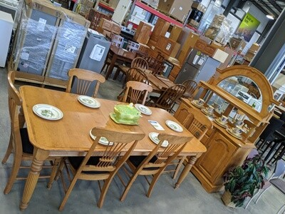 Dining Room Set (Table w/6 Chairs & Hutch) Solid Wood #1046