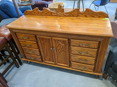 Solid Oak Bar/Buffet With Mirror Back #1052