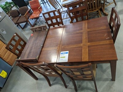 Walnut Veener Table w/6 Chairs and leaf #1071