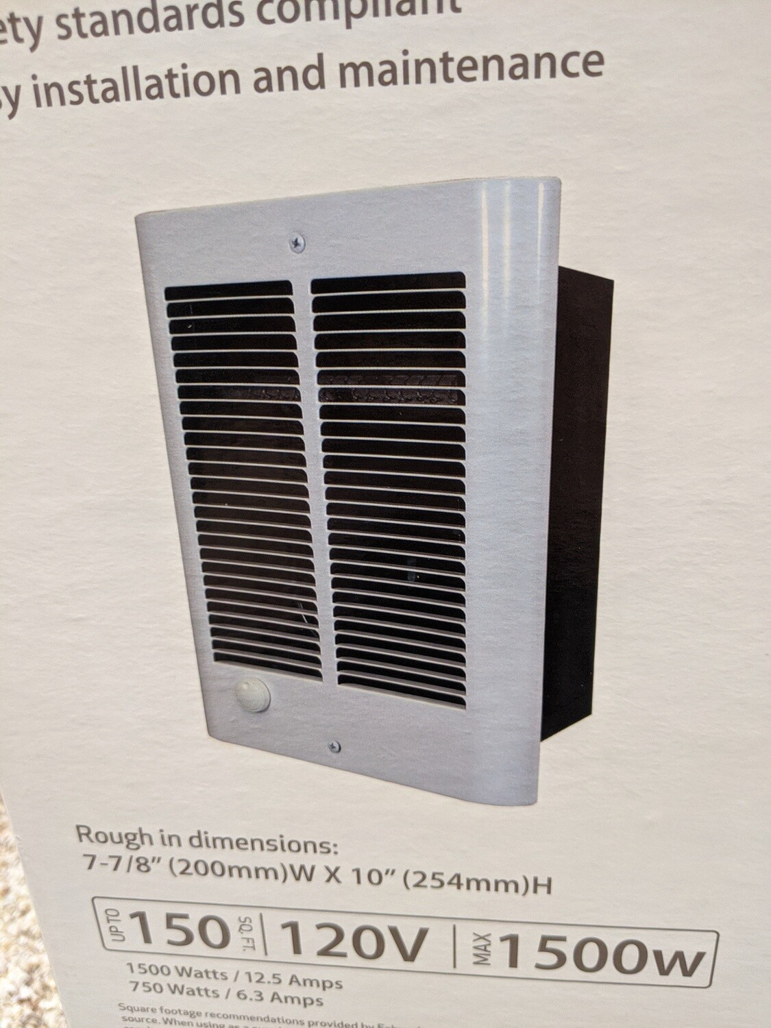 Electric Wall Heater 1500W 120V #1126