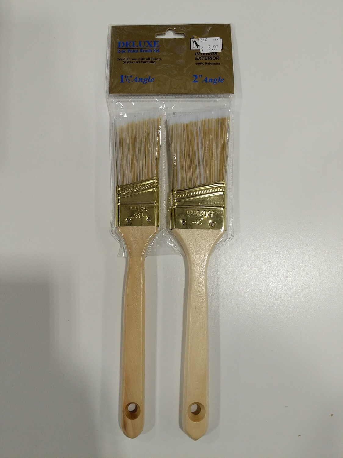 "PAINT BRUSH SET-- 2PC 1-1/2"" & 2"" ANGLED--'DELUXE' WOOD HANDLES"