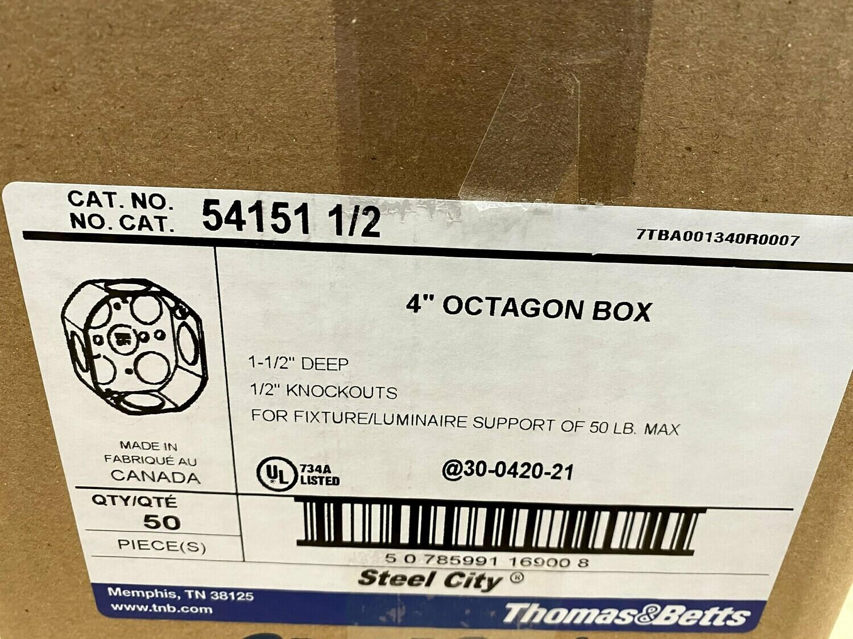 "Case of 50 4"" Octagon Metal Box #1505"