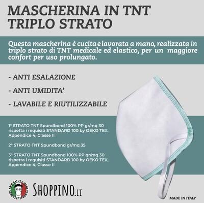10 Mascherine in triplo strato di TNT MEDICALE CERTIFICATO