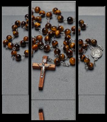 Rosenkranz – Achat Tigerauge braun mit Holz-Kruzifix