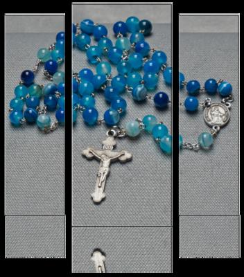 Rosenkranz – Achat Naturstein blau gebändert