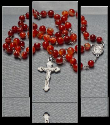 Rosenkranz – Achat Naturstein rot gebändert