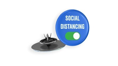 Social Distancing Lapel Pin Blue