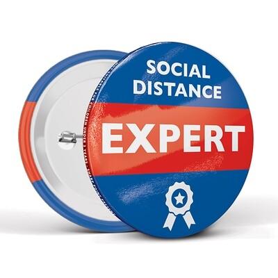 75mm Social Distancing Button Badges Expert