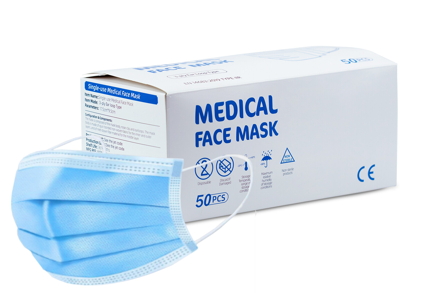 Disposable 3 Layer TYPE IIR Protective Mask - Box of 50 (EN14683)
