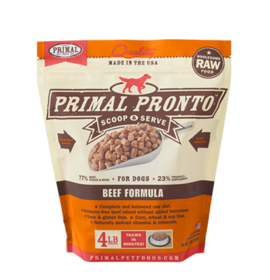 PRIMAL RAW PRONTO BEEF 3/4# TRIAL