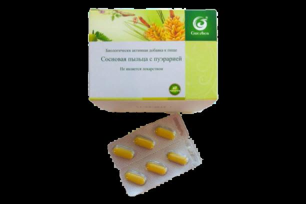 Сосновая пыльца c пуэрарией (для печени) - 60 таб.