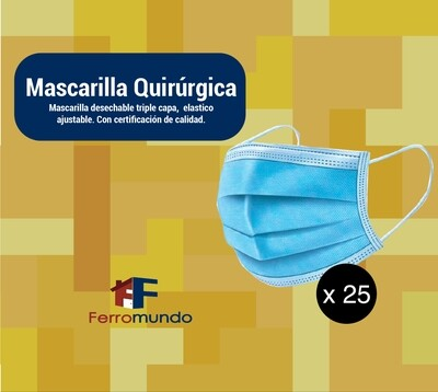 Mascarilla quirúrgica - 25 unidades