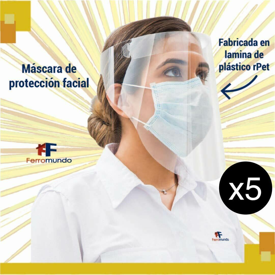 Careta de protección facial - paquete 5 unidades