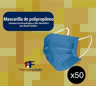 Mascarilla polipropileno reutilizable - 50 unidades