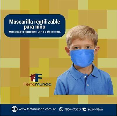 Mascarilla polipropileno para niño - 3 unidades