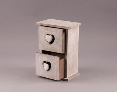 Holz-Schränckchen mit 2 Schubladen
