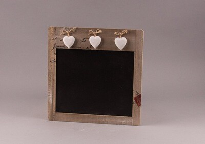 Holz-Memotafel mit Herzen