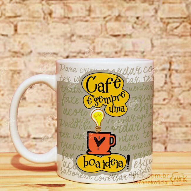 Caneca 325ml com Arte de Café - CANEK
