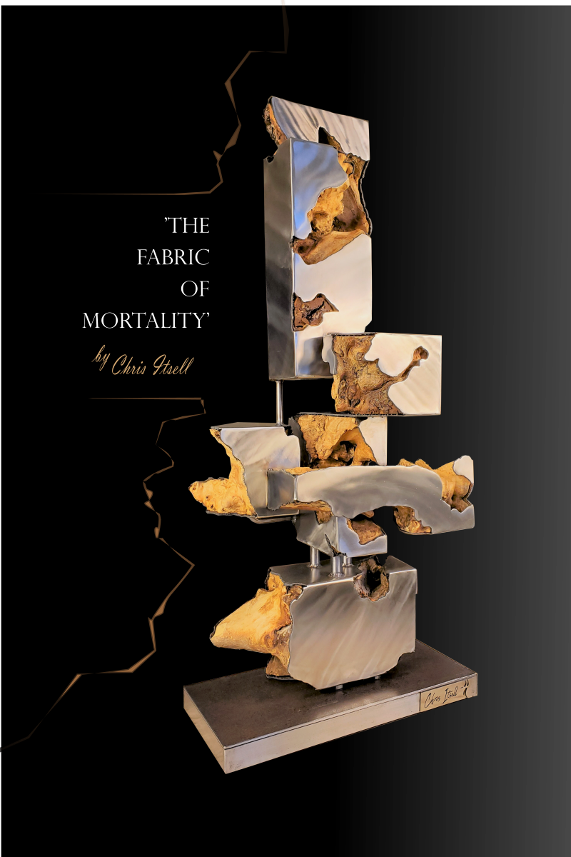 'The Fabric of Mortality' Modern Stainless & Wood Sculpture