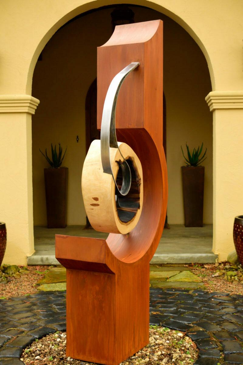 'Kinetic' Modern Steel & Wood Sculpture