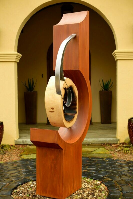 'Kinetic' Modern Steel & Wood Sculpture