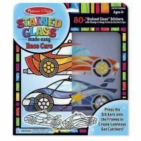 9293-ME STAINED GLASS - RACE CARS