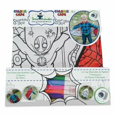 CE DISFRZ Colour-A-Cape Spider Super Hero, Size 4-7