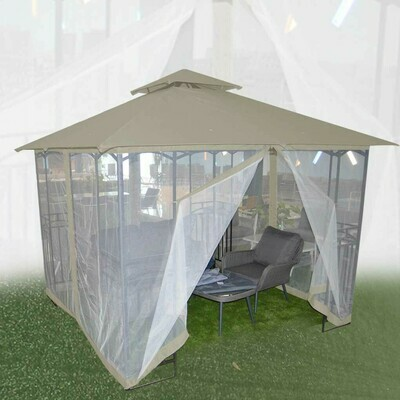 GAZEBO COLOR TAUPE CON MALLA
