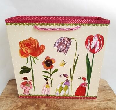 Papiertasche Damen mit Blumen