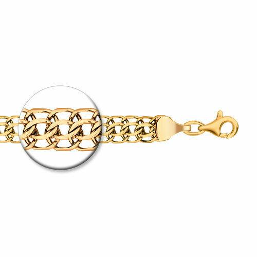 Цепь питон ручная вязка из золочёного серебра с алмазной гранью