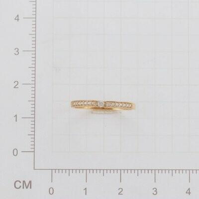Кольцо 191081НГ диаметр 16,5 мм с бесцветными фиан