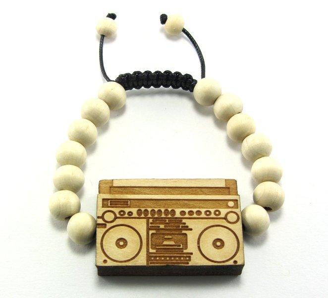 Hip Hop Boombox Wooden Bracelet