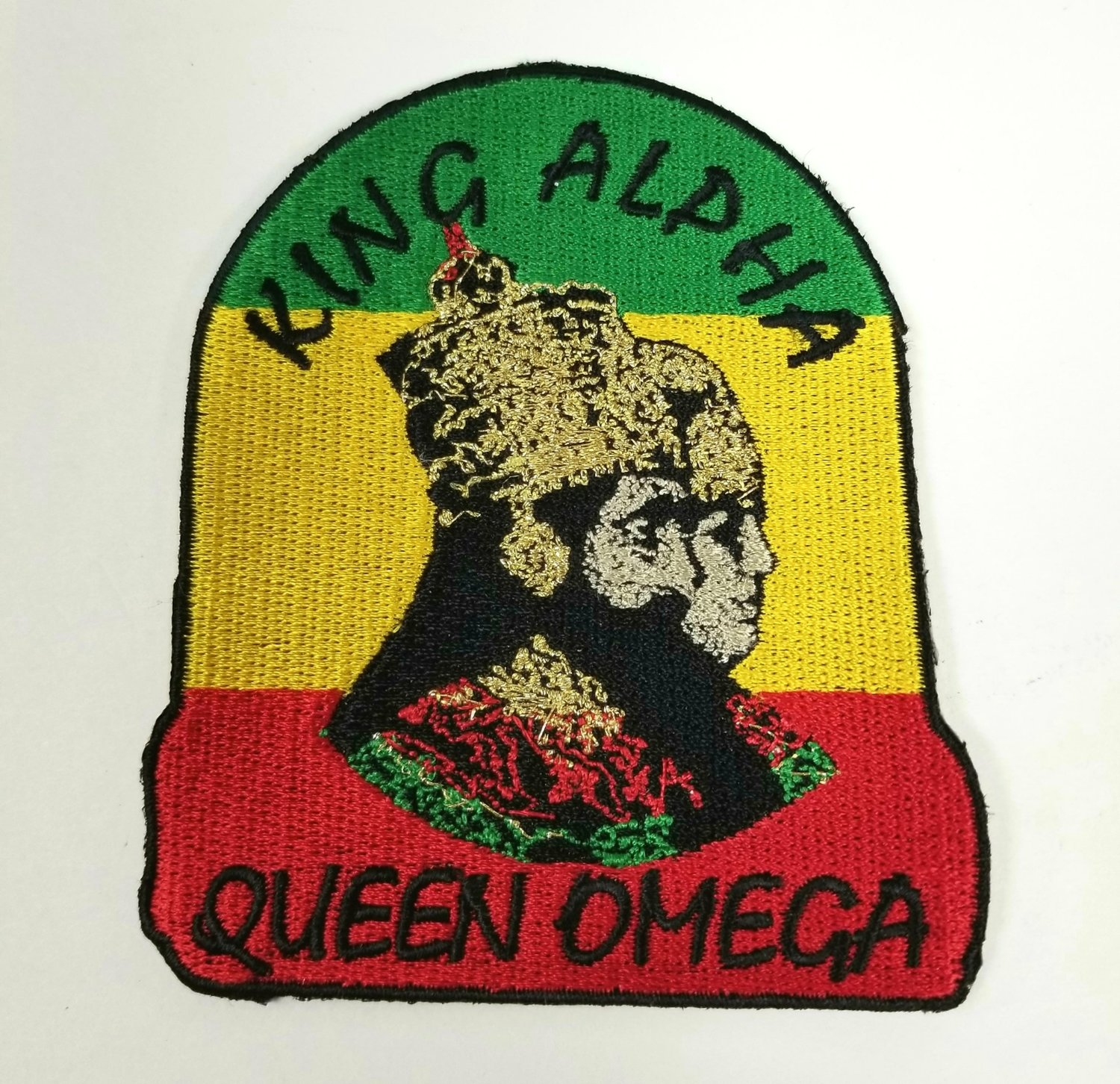 King Alpha Queen Omega Iron On Patch