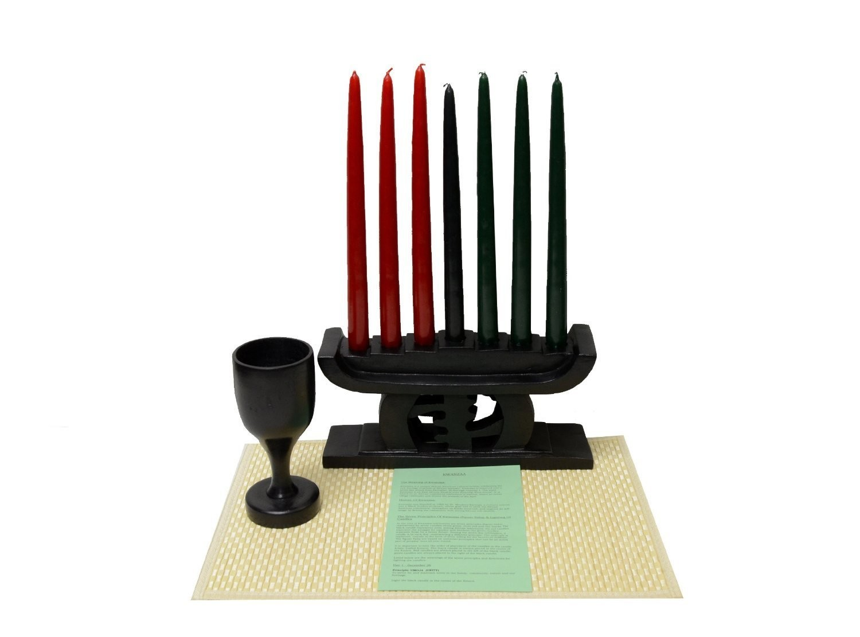 Kwanzaa Gye Nyame Candleholder & Celebration Set (Black) - Handmade in Ghana