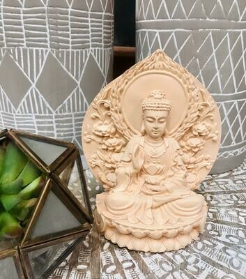 Cream Carved Buddha Resin