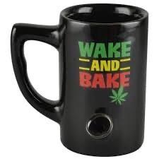 Ceramic Water Pipe Mug 8oz/Green Wake & Bake