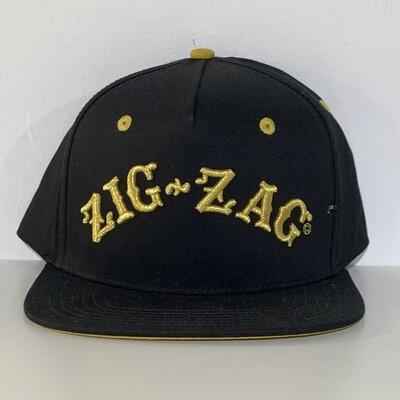 Zig Zag Logo Snapback Hat Black /Gold