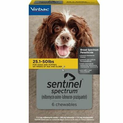Sentinel Spectrum 25.1-50 lbs, 6 pack ($7 online Rebate)