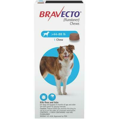 Bravecto 44-88lbs ($15 online rebate for 2)